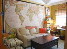 Check out the maps on Houzz: http://www.houzz.com/photos/products/maps. Maps.com also has a large selection of maps, including wall-size murals. 2 months ago bridgetrussel says: National Geographic has a very large world map - comes in three panels. I have it on my family room wall. Just go to their website shop and order (it's around $99).