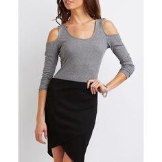 Charlotte Russe Envelope Hem Pencil Skirt ($19) ❤ liked on Polyvore featuring skirts, black, pencil skirt, high-waist skirt, wrap skirt, high-waisted skirts and high-waisted pencil skirts
