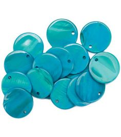 Favorite Findings Shellz Buttons- 3/4'' Turquoise Round Dangles & craft & packs of buttons at Joann.com $3.49