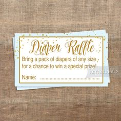 Diaper Raffle Printable Tickets Light Blue & Gold by laprintables