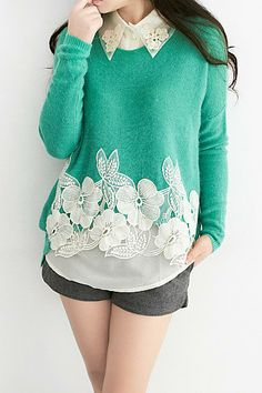 lace edge a thrift store sweater