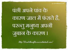 Hindi Thoughts: Hindi Thought (Birds fell into the trap/पंछी अपने पांव के कारण जाल) #Quote
