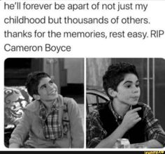 hell forever be apart of not just my childhood but thousands of others thanks for the memories rest easy RIP Cameron Boyce Disney Memes, Disney Xd, Cute Celebrities, Celebs, Thanks For The Memories, Disney Descendants, Sad Stories, Rest In Peace, Disney And Dreamworks