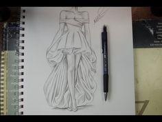 تعليم الرسم بالرصاص طريقة تصميم فستان مع الخطوات - تعلم الرسم