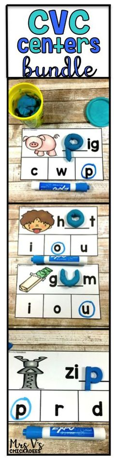 CVC words hands on centers perfect for phonics lessons, literacy stations, word work, guided reading extensions and rti groups. Beginning, middle and ending sound dry erase boards Phonics Lessons, Teaching Phonics, Phonics Worksheets, Kindergarten Lessons, Kindergarten Reading, Kindergarten Phonics, Preschool, First Grade Phonics, First Grade Classroom
