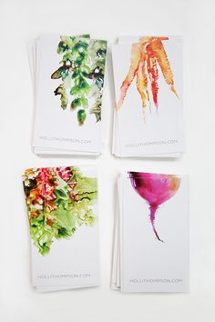 watercolor business cards, perfect for a creative or public relations major maybe not food though