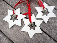 Clay Christmas Star with Bell Ornament - Set of 3