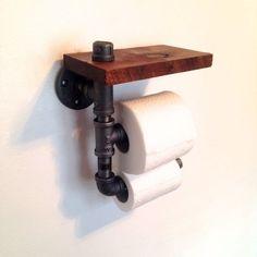 Wood & Pipe Toilet Paper Holder | Playa Del Carmen Rustic Industrial Lamps & Furniture