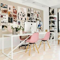 Workspace Inspo and Image Regram thanks to @talirothdesigns  @juliarobbs for @homepolish of @rebeccataylornyc based in the US. We are big fans of Australian Interior Designer now based in NYC @talirothdesigns who designed this gorgeous workspace for @rebeccatalornyc. We love the incredible inspo wall and how lovely are the pink Eames visitors chairs. We are also fans of the Strut Table/Desk by @bludot. Thanks Tali we love your workspace style!