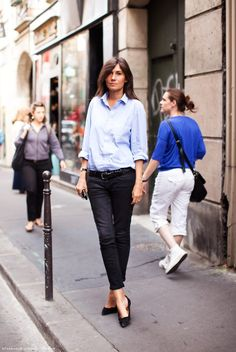 How to style the blur shirt - this spring most awesome item. How to style and some great shopping ideas! Emmanuelle Alt.