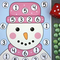 snowman roll and cover math and fine motor activity for preschool and kindergarten. Seasons Activities, Fine Motor Activities For Kids, Math For Kids, Winter Activities, Kindergarten Activities, Senior Activities, Fall Preschool, Preschool Crafts, Christmas Math