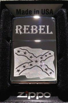 Zippo Custom Lighter - Rebel Confederate Flag Dixie RED Neck Logo High Polish Chrome Rare! by Zippo. $35.95