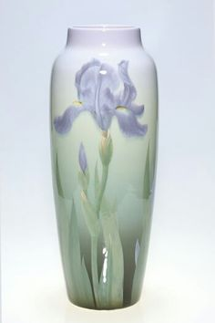 ~Rookwood~Artist: Carl Schmidt~Circa 1906~Large Purple Iris Blooms And Buds On Both Sides-Iris Glazed Vase~