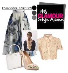 """Fashion"" by lia-fashion on Polyvore featuring self-portrait, Chicwish, Prada and Giambattista Valli"