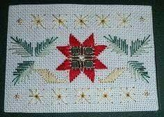 Discover thousands of images about Mary Joan Stitching: Hardanger Gallery. Types Of Embroidery, Learn Embroidery, Embroidery Patterns, Floral Embroidery, Christmas Tree Pattern, Christmas Cross, Poinsettia Cards, Christmas Poinsettia, Huck Towels