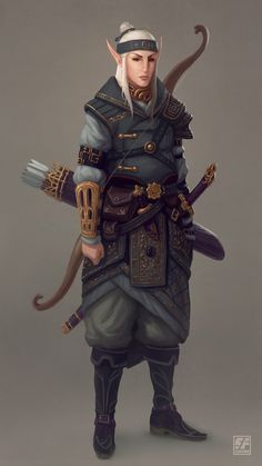 f High Elf Ranger Royal Constable Med Armor Longbow Sword urban City undercity underdark farmland Character Design Cartoon, Fantasy Character Design, Character Creation, Character Design Inspiration, Character Concept, Character Art, Fantasy Races, Fantasy Armor, Medieval Fantasy