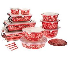 Temp-tations Floral Lace 24-piece Oven-to-Table Set - Red for Christmas or 4th of July