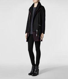 Womens Holt Biker Coat (Black/Oxblood) | ALLSAINTS.com