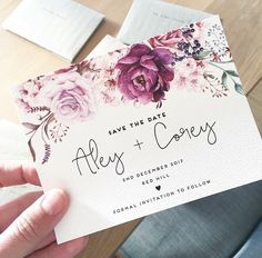Wedding save the date card THE JENNY design ink hearts paper - watercolour floral roses plum deep purple magenta pretty feminine invitation invite vintage rustic modern classic luxe