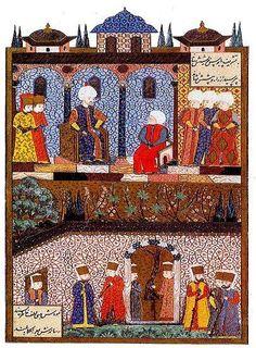 Yavuz Sultan Selim'in Donanma Komutanı Barbaros Hayrettin Paşa'yı kabulü (Süleymanname)