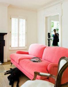 bubblegum pink sofa in a white room