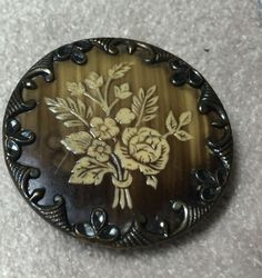 Victorian Antique Ivoroid Floral & Metal Button with Fancy Border, 1-1/2""