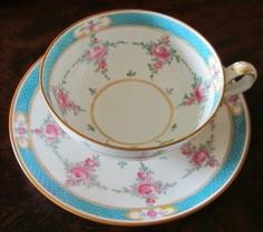 "1 Estate MINTON ENGLAND ""PERSIAN ROSE (OLDER)"" B838 COFFEE TEA CUP & SAUCER"