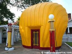 Shell-shaped gas station. I need to go here!