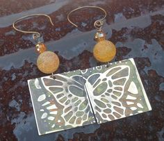 Yellow Monarch Butterfly and Cracked Agate Mixed Media Dangle Earrings Vintaj Brass