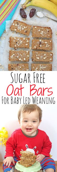 Quick and easy sugar free flapjacks or oat bars, perfect for baby led weaning Baby Snacks, Toddler Snacks, Baby Led Weaning, Weaning Toddler, Easy Meals For Kids, Kids Meals, Sugar Free Flapjacks, Breakfast Low Carb, Baby Breakfast