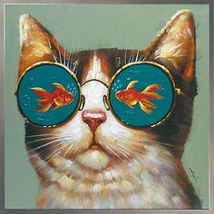 oil painting cat, glasses in the fish diy diamond pattern embroidery bead pattern diamond embroidery stone picture-in Diamond Painting Cross Stitch from Home & Garden on AliExpress Oil Painting Flowers, Oil Painting On Canvas, Painting Art, Painting Trees, Painting Wallpaper, Cheap Paintings, Animal Paintings, Oil Paintings, Art Encadrée