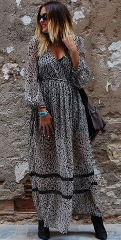 Single Piece Maxi Floral Dress Fall Inspo by Siguen Siendo Diosas