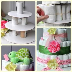 How to Make a Baby Shower Diaper Cake {Craft Tutorial} Diy Diapers, Baby Shower Diapers, Baby Shower Cakes, Baby Boy Shower, Diaper Shower, Diaper Wreath Tutorial, Homemade Centerpieces, Diaper Cake Instructions, Baby Shower Souvenirs