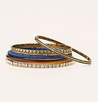 Navy and Tortoiseshell Bangle Set - An upscale color palette entices this slender, shimmery set. AnneTaylor/Loft