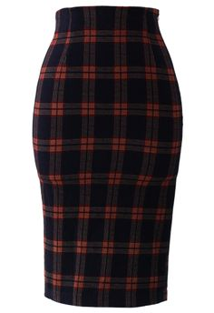 every women's closet should have a pencil skirt!  solid or print.. always classic  timeless!  Dark Blue Tartan   Pencil Skirt