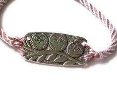 Owl bracelet  kumihimo braid in dusty rose by ToniCartisano, $20.00