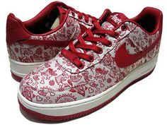 "NIKE WMNS AIR FORCE 1 LO  ""VALENTINE/AMOR""  SAIL/VARSITY RED-BLACK"