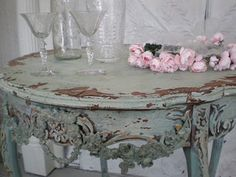 Vintage charm just comes with this green table that I use in a bedroom in one of the guesthouses