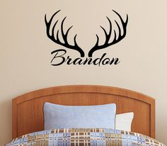 Personalized Name & Deer Antlers Rack Vinyl Wall Decal Sticker Hunting Decor