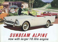 Early 1960s Sunbeam Alpine, Sporty British Convertable. 1960s UK cars
