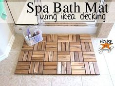 DIY Spa Bath Mat using ikea decking