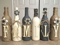Wine bottle crafts are perfect for wine lovers. Have you tried making any of these craft ideas. Wine Bottle Decor Hand Painted Family Diy Bottle Crafts Wine 44 simple diy wine bottles crafts use wine… Custom Wine Bottles, Wine Bottle Art, Diy Bottle, Wine Bottle Crafts, Mason Jar Crafts, Wine Bottle Decorations, Wine Craft, Wine Decor, Beer Bottle