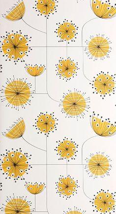 FSC certified Printed in the UK Size: 52 cm × 10 metres / 11 yd × 20 in Finish: Matt Yellow wallpaper Dandelion Plant, Dandelion Drawing, Dandelion Yellow, White Wallpaper, Wallpaper Backgrounds, Iphone Wallpaper Yellow, Happy Wallpaper, Dandelion Wallpaper, Cute Screen Savers