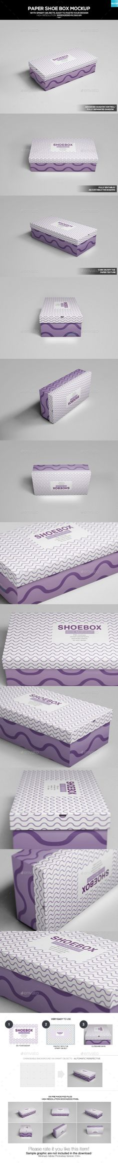 Paper Shoe #Box #Mockup - Miscellaneous #Packaging Download here:  https://graphicriver.net/item/paper-shoe-box-mockup/20110444?ref=alena994
