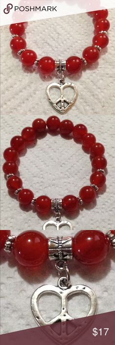 """❤️ Red Carnelian Valentine's Heart Bracelet This beautiful bracelet is made with natural carnelian. It is elastic and will stretch to fit up an 8-8.5"""" wrist. All PeaceFrog jewelry items are made by me! Take a look through my boutique for coordinating pieces and more unique creations. PeaceFrog Jewelry Bracelets"""