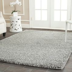Safavieh Cozy Solid Silver Shag Rug (8' x 10') - Overstock™ Shopping - Great Deals on Safavieh 7x9 - 10x14 Rugs