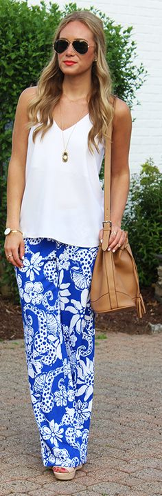 Lilly Pulitzer Blue And White Wide Leg Tropical Print Palazzo Pants