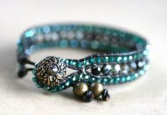 Black  Agate Gemstone and Green Crystals Leather Wrap Bracelet