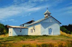 SOLD I White Adobe I 16x24 I Dix Baines I Fine Artist Original Oil Paintings I Southwest Churches I Southwest Paintings I www.dixbaines.com