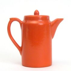 Vintage Bauer Pottery USA Plain Ware Orange Red Individual Hot Water Coffee Pot